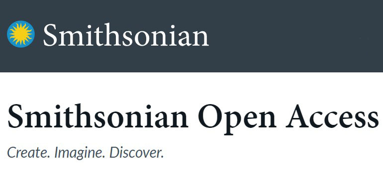 """Logo for Smithsonian Open Access. Top half of image has the Smithsonian sunburst logo and the word """"Smithsonian"""" in white text on a dark gray background. The bottom half has the text """"Smithsonian Open Access Create. Imagine. Discover."""" in black text on white background."""