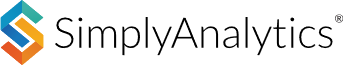 """Logo for SimplyAnalytics, which includes a stylized uppercase """"S"""" in red, yellow, blue, and green, followed by the name SImplyAnalytics in black font, all on a white background"""