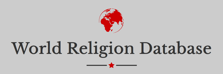 """Logo for the World Religion Database. Gray background, with a small red globe over the words """"World Religion Database"""" in black text"""