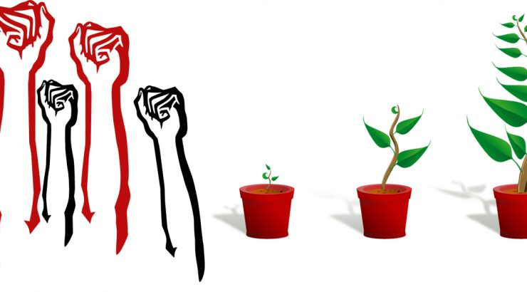 Two clip art images pasted together: on the left, a collection of raised fists in red and black ink; on the right, images of a plant growing in a pot.
