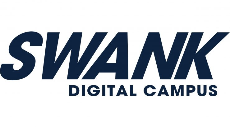 Logo for Swank Digital Campus, with the name of the database in blue text on a white background.