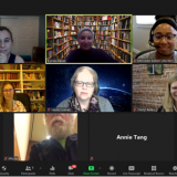 A screenshot from a Microsoft Teams virtual meeting, showing eight participants smiling for the camera