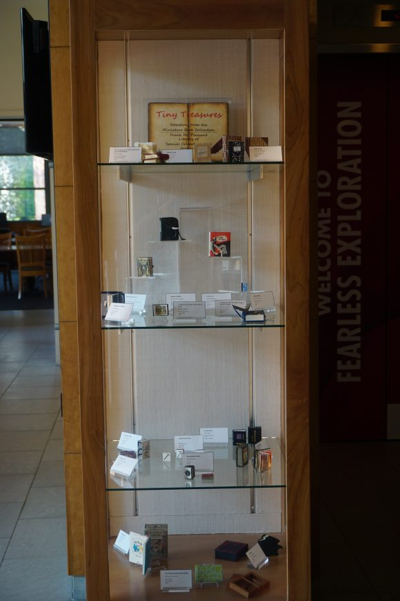 A tall narrow display case containing several miniature books.