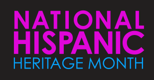 Logo, in pink and blue font on a black background, for National Hispanic Heritage Month,