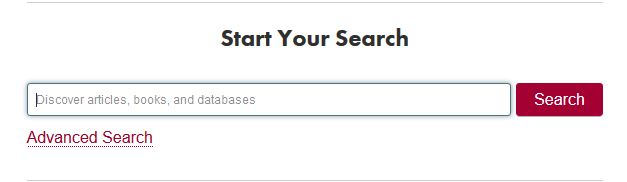 Start Your Search bar on the Leatherby Libraries homepage