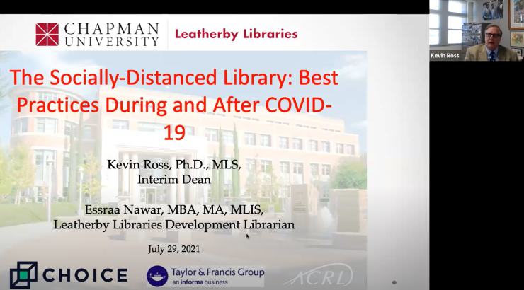 Screenshot of a webinar in progress. Taking up most of the screen is a slide with an image of the front of the Leatherby Libraries. Superimposed over the image is text that reads,