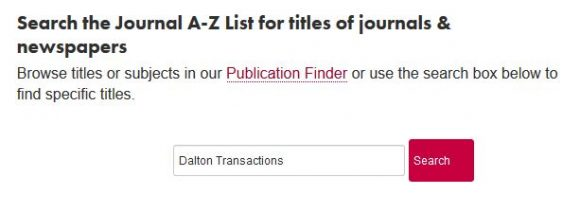 """A search for """"Dalton Transactions"""" in the Journal A-Z list"""
