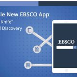 """Blue background with an illustration of a smartphone, labeled """"The Versatile New EBSCO App: A 'Swiss Army Knife' for Search and Discovery."""" The smartphone illustration has an EBSCO search bar in the center, with icons attached to it via gray lines."""
