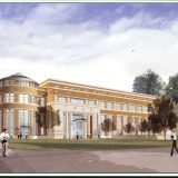 An architectural rendering of the Leatherby Libraries, complete with students walking in front of it, and trees and a sky in the background.