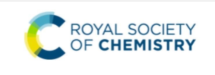 Logo for the Royal Society of Chemistry. The name of the society is in blue font on a white background. To the left of the name of the society is a large capital letter