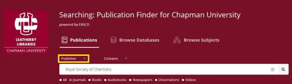 """A search for """"Royal Society of Chemistry"""" as a publisher in the Publication Finder"""