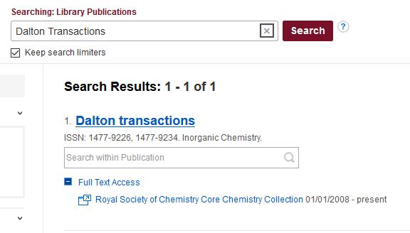 """Search results for """"Dalton Transactions"""" in the Journal A-Z list"""