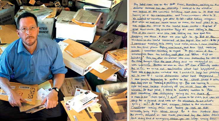Collage of two images. On the left is a photo of a man sitting at a desk surrounded by letters, looking up at the camera. On the right is a scan of a hand-written letter.