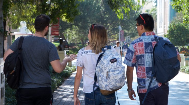 Students walking on the campus of Chapman University