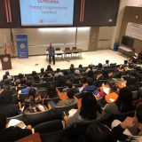 Dean of Students Jerry Price welcomes local high school students to the University on their Young Congressional Leaders visit.