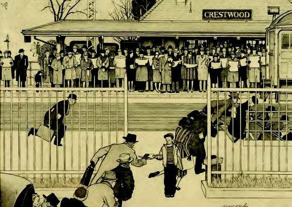 "Norman Rockwell's ""Crestwood Commuter Station,"" a study for his cover art for the Saturday Evening Post issue of Nov. 16, 1946. (The Hilbert Collection)"