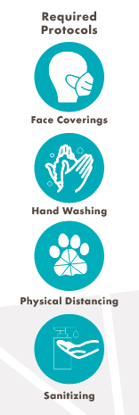 COVID-19 Safety Protocols: Hand Washing, Sanitizing, Social Distance, Mask Wearing, Washing Hands