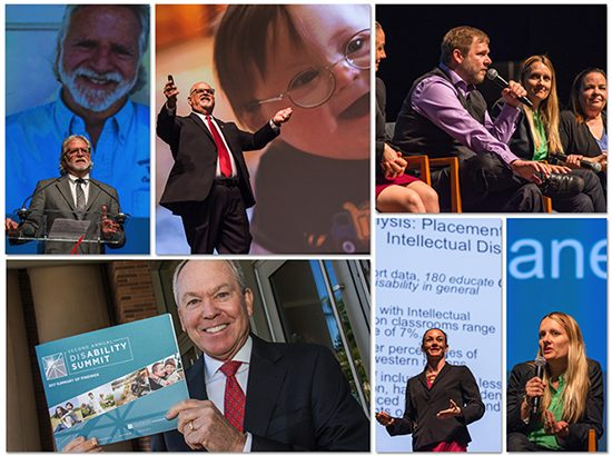 Collage of the previous disability summit. Pictures include event speakers such as Dr. Don Cardinal