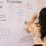 STEM writing formulas on a white board
