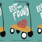 """Lost and Found"" poster design of a heart in a wagon"