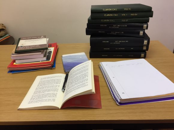 MacInnes' desk in Durban, South Africa, at the Killie Campbell Africana Library - lots of books out for archival research