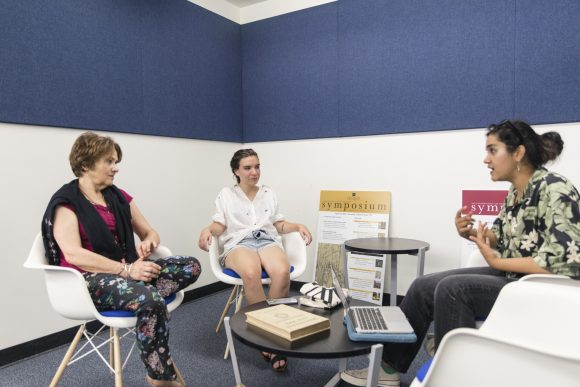 Dr. Wendy Salmond, Helena Walker, and Kaur sit down and discuss art history research project