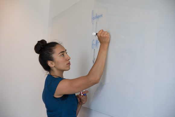 Natalie Peterson writing out equations on a white board