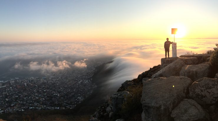 Student on mountain in Cape Town