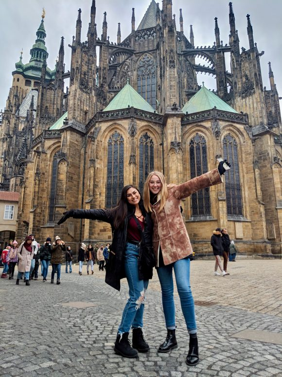 students in front of cathedral