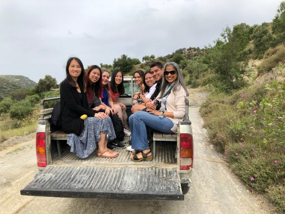 students in truck in Greece