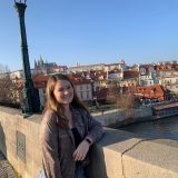 Student in Prague on bridge