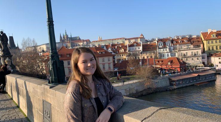 Student in Prague on bridge