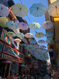 Narrow street with carnival lights and fluorescent colors and lightly colored umbrellas hanging overhead as a decorative ceiling above the street and connected by the roofs of the buildings on each side.