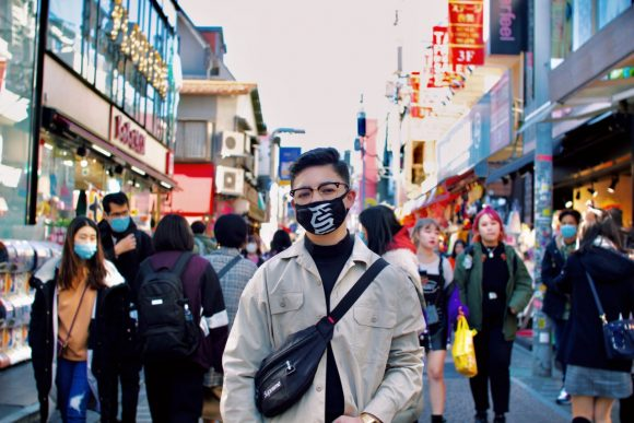 Student wearing mask in Japan