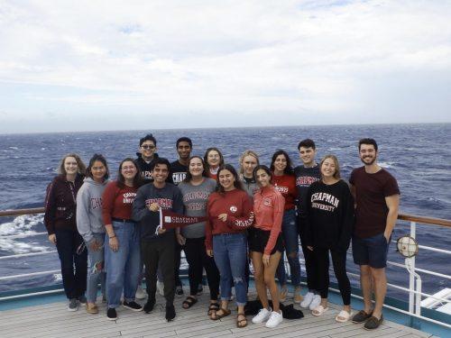 Chapman studens on Semester at Sea boat
