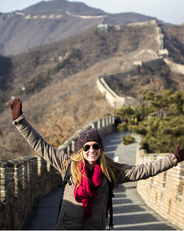 Student on the Great Wall in China