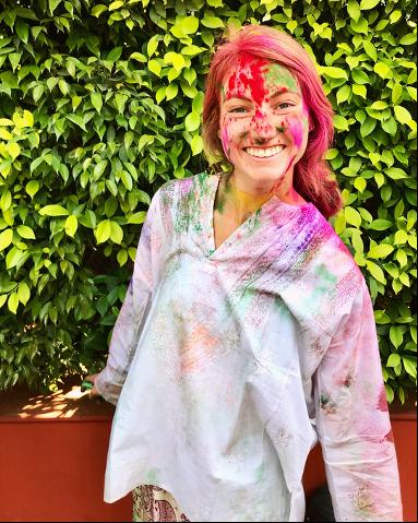 Student celebrating Holi festival