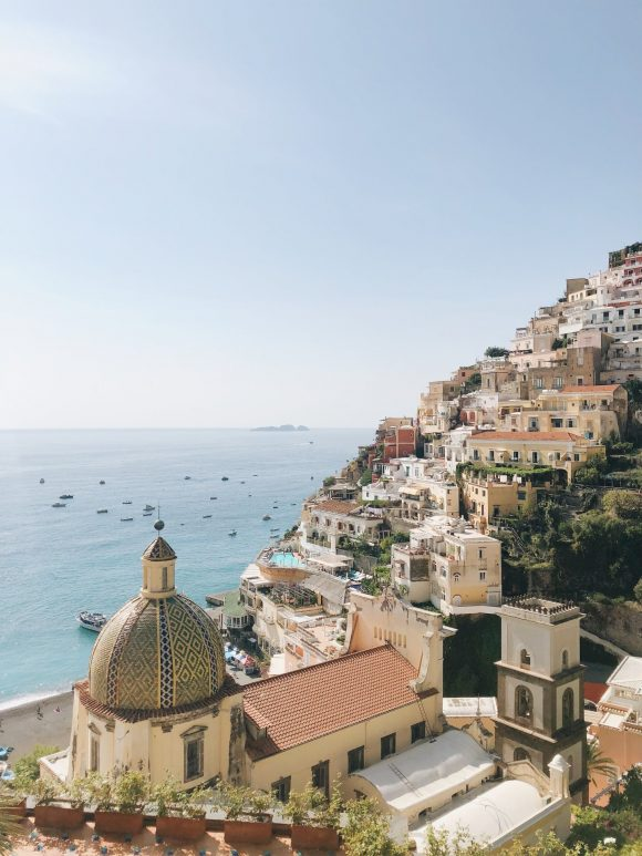 View looking at buildings and the sea in Cinque Terre, Italy