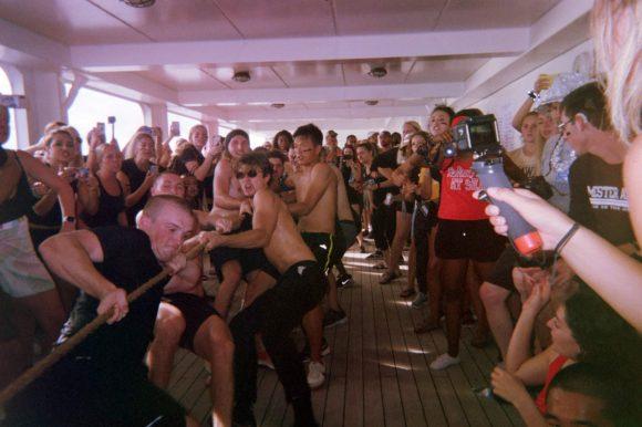 Students playing tug-of-war on Semester at Sea