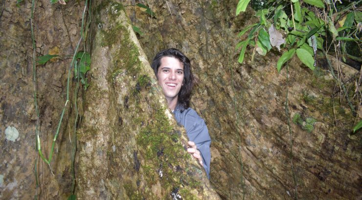 Student behind large tree trunk